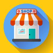 Store front vector icon Flat design small shopping center exterior illustration Stock Illustration