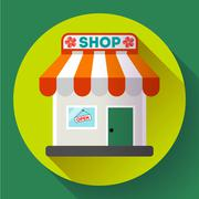 Store front vector icon Flat design small shopping center exterior illustration - stock illustration