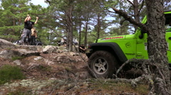 Off road with a 4 wheel drive jeep in a Swedish forest Stock Footage