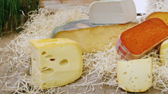 Set of different cheeses. The camera moves along a number of pieces of cheese Stock Footage