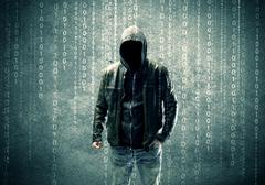 Angry mysterious hacker with numbers Stock Photos