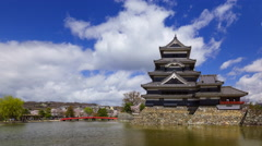 4K Timelapse of Matsumoto castle in spring season, Nagano, Japan Stock Footage
