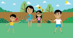 Illustration Of Family Playing With Frisbee In Garden Piirros