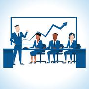 Illustration Of Businessman Addressing Board Meeting Stock Illustration