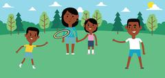Illustration Of Family Playing With Frisbee In Park Together Stock Illustration