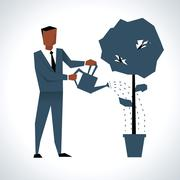Illustration Of Businessman Watering Tree Growing In Pot Stock Illustration