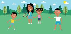 Illustration Of Family Playing With Frisbee In Park Together Piirros
