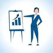 Illustration Of Businesswoman Giving Presentation - stock illustration