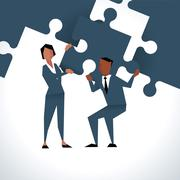 Illustration Of Businesspeople With Piece Of Jigsaw Puzzle Piirros