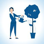 Illustration Of Businesswoman Watering Tree Growing In Pot - stock illustration