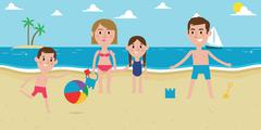 Illustration Of Family Enjoying Beach Vacation Together Stock Illustration