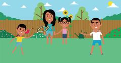 Illustration Of Family Playing With Frisbee In Garden Stock Illustration