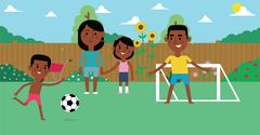 Illustration Of Family Playing Soccer In Garden Together Piirros