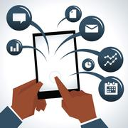 Illustration Of Businessman With Digital Tablet And Icons Stock Illustration
