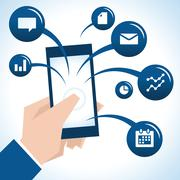 Illustration Of Businessman Holding Mobile Phone And Icons Stock Illustration