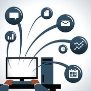 Illustration Of Businessman Using Computer With Icons Stock Illustration