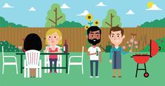 Illustration Of Friends Having Barbecue In Garden Stock Illustration