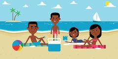 Illustration Of Family Enjoying Picnic On Beach Together Stock Illustration
