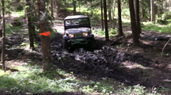 Off road with a 4 wheel drive black jeep Stock Footage
