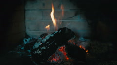 Fire burning in the fireplace - slow motion Stock Footage