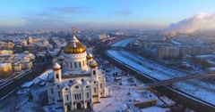 Cathedral of Christ the Saviour, with winter Moscow on the background. Stock Footage