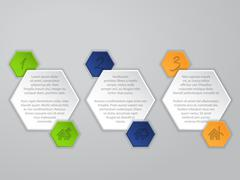 Hexagon infographic with icons and description Stock Illustration