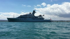 Yacht Luxury whit Helicopter  Ship  - stock footage