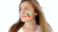 Girl with Bulgarian flag on her face smiling Stock Footage