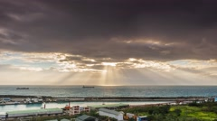 Crepuscular sun rays during sunset over the sea Stock Footage