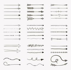 Set of Vector Black Hand Drawn Arrow Shaped Elements Stock Illustration