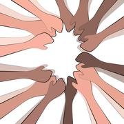 Depicting togetherness in a community and good teamwork and participation - stock illustration