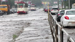 Flooding on the road after a heavy rain. Stock Footage