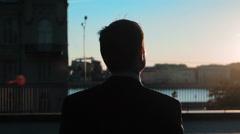 Businessman Outdoors Sunset Joy Success Arkistovideo