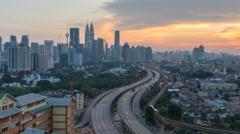 Sunset scene at Kuala Lumpur Stock Footage
