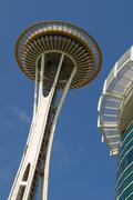 Detail of Space Needle Tower in Seattle United States Kuvituskuvat
