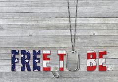 Dog tags with patriotic quote Stock Illustration