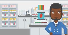 Man with three D printer vector illustration Stock Illustration