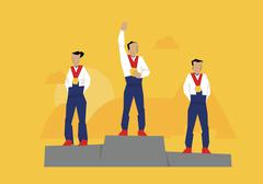 Illustration Of Medal Winners Standing On Podium At Event Stock Illustration