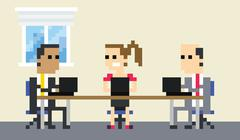 Pixel Art Image Of Business Team Meeting In Office - stock illustration