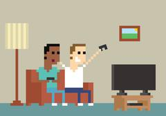 Pixel Art Image Of Gamers Playing Together At Home Stock Illustration
