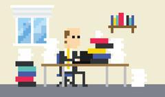 Pixel Art Image Of Businessman Working At Desk Stock Illustration
