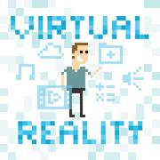 Pixel Art Image Of Man Amongst Virtual Reality Graphics Stock Illustration
