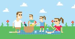 Pixel Art Image Of Family Having Picnic In Park Stock Illustration