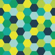 Repeating Pattern of Abstract Colorful Hexagon Vector Background - stock illustration