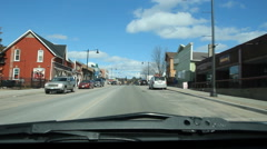 Driving through downtown Haliburton, Ontario on winter day. Stock Footage
