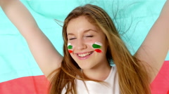 Girl with Bulgarian flag smiling Stock Footage