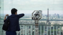 Male Tourist Enjoys Panoramic View Of Paris From Montparnasse Tower Stock Footage
