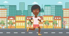 Woman running with earphones and smartphone Stock Illustration