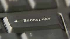 Finger Press Push Backspace Button Stock Footage