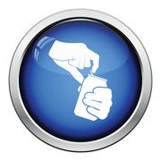 Human hands opening aluminum can icon Stock Illustration